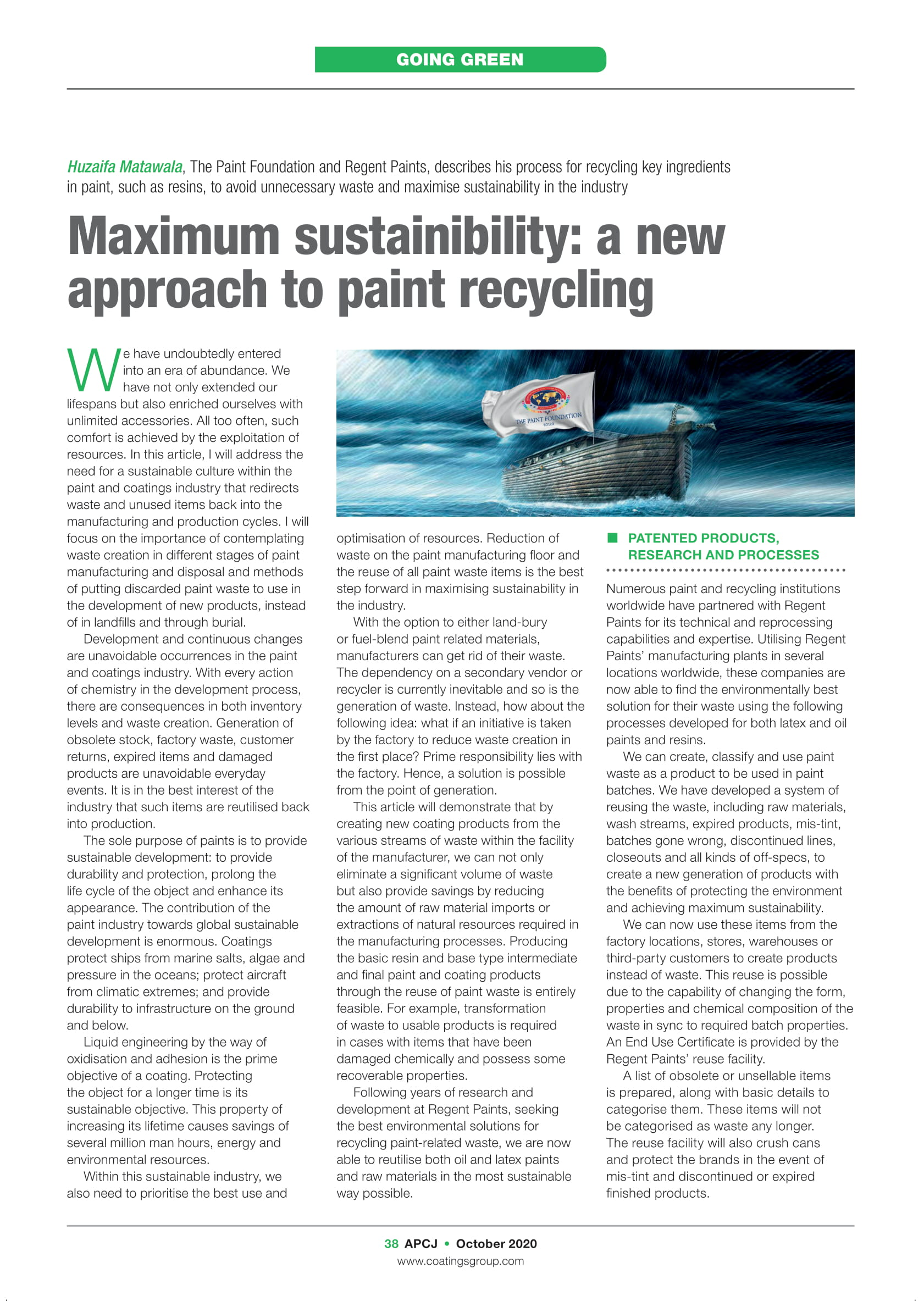 On Maximum sustainability - A new approach to Paint Recycling